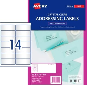 AVERY CRYSTAL CLEAR ADDRESS LABELS, LASER PRINTERS, 99.1X38.1MM 350 LABELS L7563