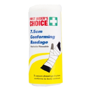 FIRST AIDERS CHOICE REUSABLE CONFORMING BANDAGE 7.5CM X 1.8M - EACH
