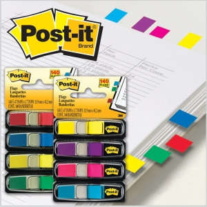 POST-IT MINI FLAGS 12 X 44MM ASSORTED COLOUR - PACK OF 4