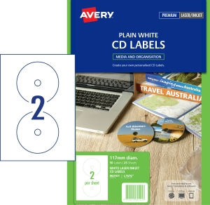 AVERY WHITE CD LABELS FOR LASER PRINTERS, 117MM DIAMETER, 50 LABELS L7676)