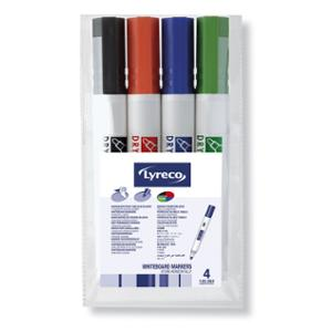 LYRECO DRY WIPE BULLET TIP WHITEBOARD MARKER 1.5-2MM ASSORTED - WALLET OF 4
