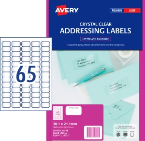 AVERY CRYSTAL CLEAR ADDRESS LABELS LASER PRINTERS 38.1X21.2MM 1625 LABELS L7551