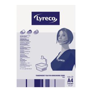 LYRECO PLAIN PAPER COPIER TRANSPARENCY FILM A4 - BOX OF 100