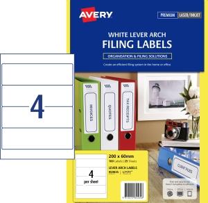 AVERY MULTI-PURPOSE LABELS, LASER, INKJET PRINTERS, 200X60MM, 100 LABELS L7171