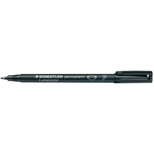 STAEDTLER LUMOCOLOR 318 BULLET TIP OHP PERMANENT MARKER 0.6MM BLACK - BOX OF 10