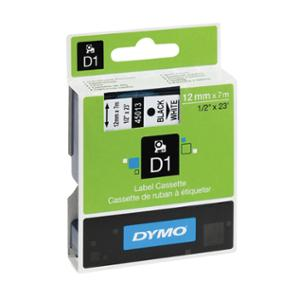 DYMO D1 LABELLING TAPE 12MMX7M BLACK ON WHITE - EACH
