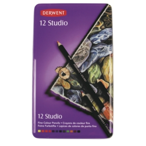 DERWENT STUDIO COLOURED PENCILS WITH TIN - SET OF 12