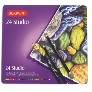 DERWENT STUDIO COLOURED PENCILS WITH TIN - SET OF 24