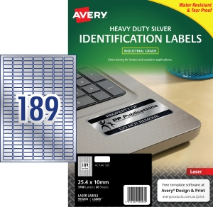 AVERY L6008-20 HEAVY DUTY LABELS SILVER - PACK OF 20