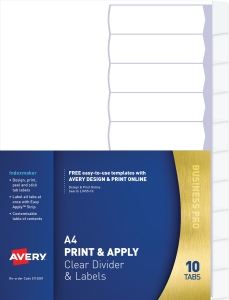 AVERY PRINT & APPLY INDEXMAKER 10 TB A4 CLEAR - EACH