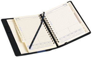 DIARY DEBDEN ELITE WIRO BOUND PU DAY TO A PAGE COMPACT BLACK