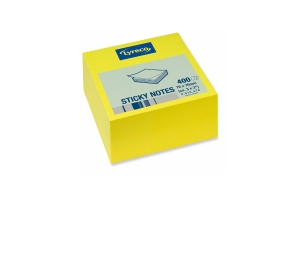 LYRECO REPOSITIONAL 400 SHEET CUBE 76 X 76MM BRIGHT YELLOW - EACH