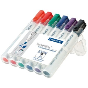 STAEDTLER LUMOCOLOR 351 BULLET TIP WHITEBOARD MARKER 2.0MM ASSORTED -WALLET OF 6