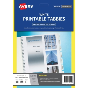 AVERY PRINT ON TABS, WHITE, 48 TABS, TABBIES