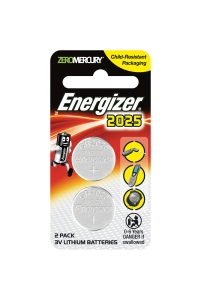 ENERGIZER LITHIUM COIN CR2025 BATTERY 3V - PACK OF 2