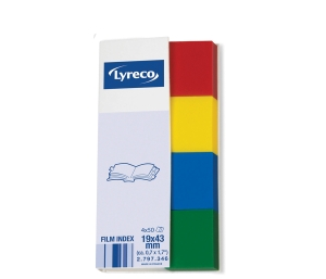 LYRECO FILM INDEX PAGE MARKERS 19 X 43MM ASSORTED - PACK OF 4