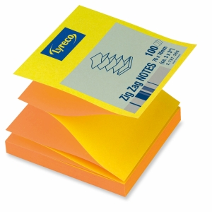 LYRECO REPOSITIONAL ZIG ZAG NOTES 76X76 YELLOW/ORANGE - PACK OF 12