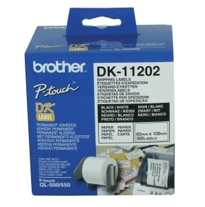 BROTHER QL LABEL SHIPPING & NAME BADGES DK11202 62X100MM WH ROLL OF 300