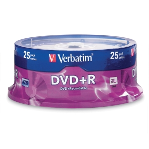 VERBATIM DVD+R 4.7GB 16X SPINDLE - PACK OF 25