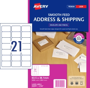 AVERY SMOOTH FEED ADDRESS LABELS, LASER PRINTERS 63.5X38.1MM 5250 LABELS L7160