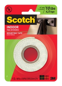 SCOTCH MOUNTING TAPE HEAVYDUTY FOAM TAPE 25MMX1.27M - EACH