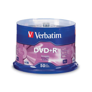 VERBATIM DVD+R 4.7GB 16X SPINDLE - PACK OF 50