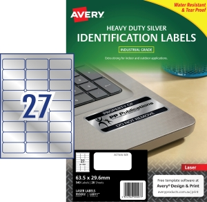AVERY L6009 HEAVY DUTY LABELS 63.5X29.6MM SILVER - PACK OF 20