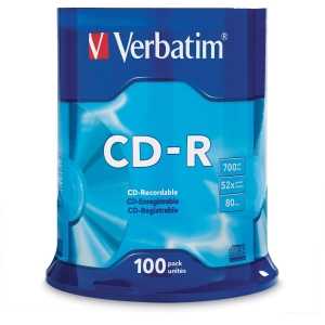 VERBATIM CD-R 80MIN/700MB 52X SPINDLE - PACK OF 100