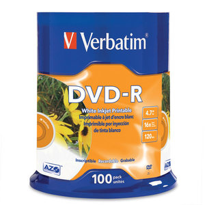 VERBATIM DVD-R INJJET PRINTABLE 4.7GB 16X SPINDLE - PACK OF 100