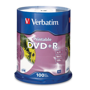 VERBATIM DVD+R INKJET PRINTABLE 4.7GB 16X SPINDLE - PACK OF 100