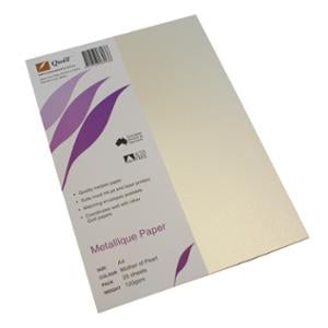 QUILL METALLIQUE PAPER 120GSM A4 MOTHER OF PEARL - PACK OF 25 SHEETS