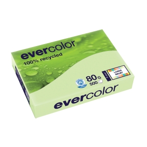 EVERCOLOR 100% RECYCLED PAPER 80GSM A4 LIGHT GREEN - REAM OF 500 SHEETS