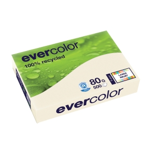 EVERCOLOR 100% RECYCLED PAPER 80GSM A4 CREAM - REAM OF 500 SHEETS