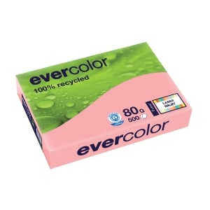 EVERCOLOR 100% RECYCLED PAPER 80GSM A4 PINK - REAM OF 500 SHEETS