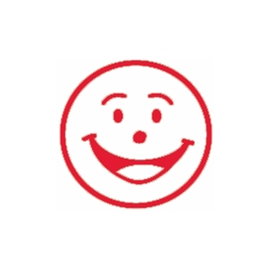 SHINY SMILEY FACE SELF INKING MERIT STAMP RED - EACH