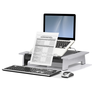 FELLOWES OFFICE SUITE MONITOR RISER PLUS 105X497X352MM BLACK AND SILVER - EACH