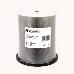 VERBATIM  CD-R INKJET PRINTABLE 80MIN/700MB WHITE 52X SPINDLE - PACK OF 100