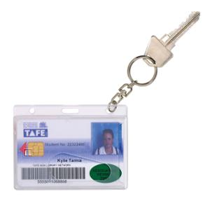 REXEL FUEL/IDENTIFICATION CARD PROTECTION HOLDER W 25MM KEYRING CLEAR PACK 10
