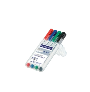 STAEDTLER LUMOCOLOR 341 COMPACT BULLETTIP W/BOARD MARKER 1-2MM ASST-WALLET OF 4