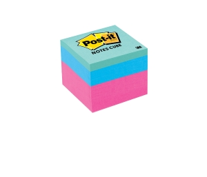 POST-IT REPOSITIONAL MINI MEMO CUBE 48 X 48MM ASSORTED BRIGHT - EACH