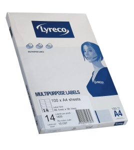 LYRECO MULTIPURPOSE L7163 ADDRESS 14LABLS/SHT 99.1X38.1 MM WH PACK OF 100 SHT