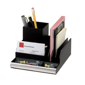 ITALPLAST DESK ORGANISER 152 X 169 X 93MM MATTE BLACK/SILVER - EACH