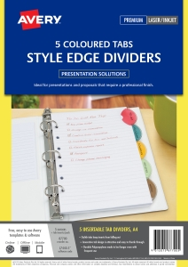 AVERY STYLE EDGE CUSTOMISABLE INSERT DIVIDERS, 5 TABS