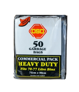 OSO HEAVY DUTY GARBAGE BAG  70-77L BLACK - PACK OF 50