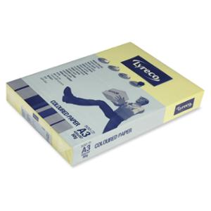 LYRECO PASTEL TINTED PAPER 80GSM A3 CANARY YELLOW - REAM OF 500 SHEETS