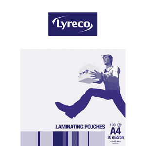 LYRECO LAMINATING POUCHES A4 80MICRON - PACK OF 100