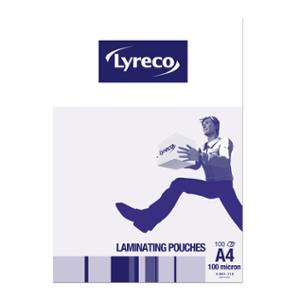 LYRECO LAMINATING POUCHES A4 100MICRON - PACK OF 100