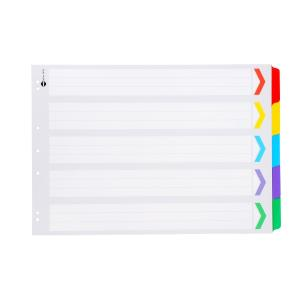 MARBIG PLASTIC TAB COLOURED DIVIDERS A3 BOARD 1-5 TAB LANDSCAPE - EACH
