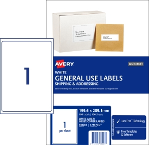 AVERY GENERAL USE LABELS, 199.6X289.1MM, 100 LABELS L7167GU