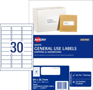 AVERY GENERAL USE LABELS, 64X26.7MM, 3000 LABELS L7158GU